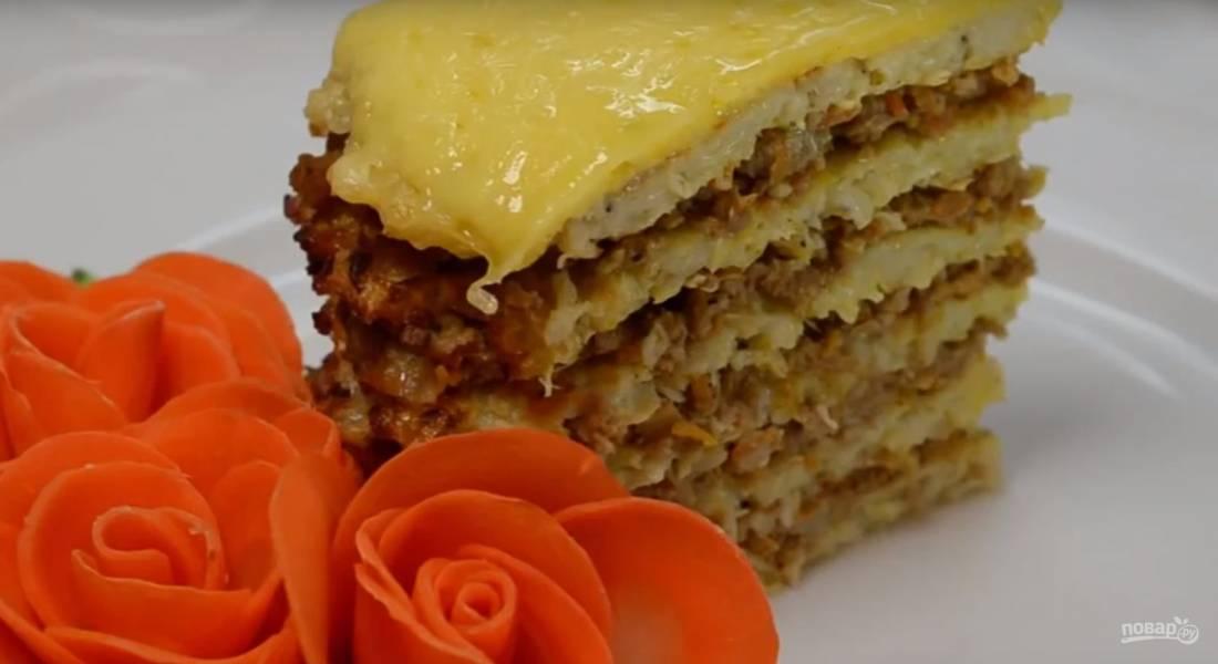 Пирог из капустных блинчиков