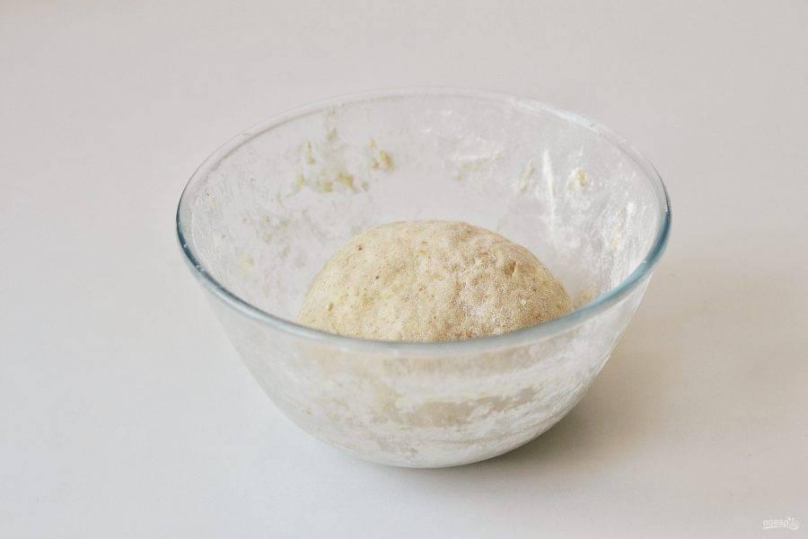 Соедините сухие ингредиенты с жидкими, замесите тесто. Накройте миску пищевой пленкой и уберите в теплое место на 1,5 часа.