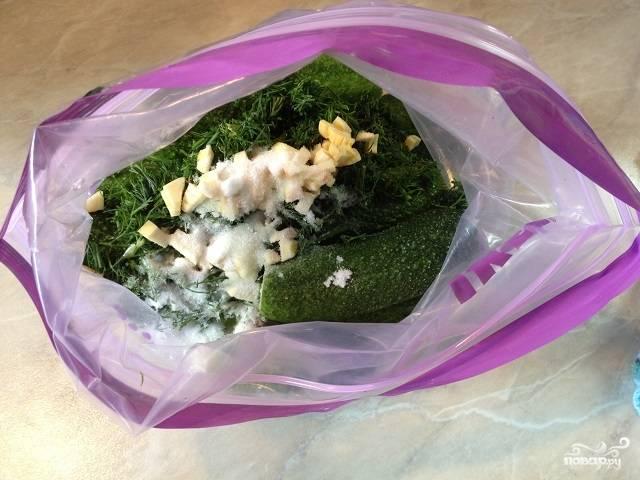 Добавьте к огурцам укроп и чеснок. Закройте пакет и хорошенько потрясите. Отправьте в холодильник на 6-8 часов, периодически встряхивайте пакет.