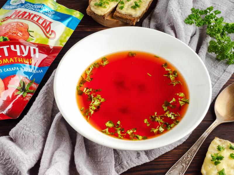 Красный бульон с кетчупом