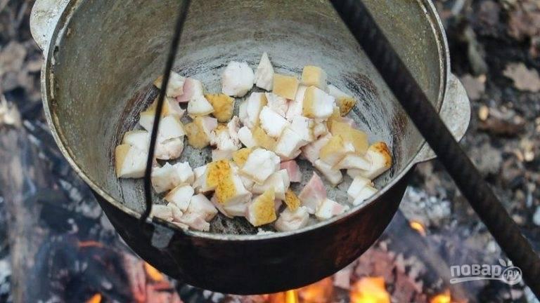 Разожгите костёр. Повесьте над ним казан. Обжарьте на огне сало кубиками, иногда его мешая.