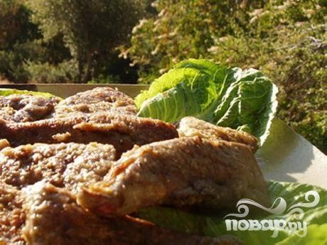 Жареная говяжья печенка с горчицей