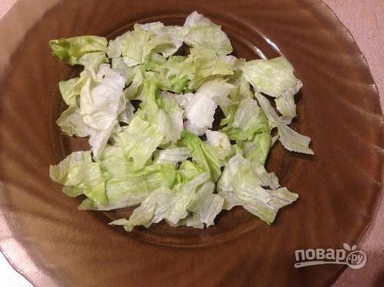 Я готовлю салат в две тарелки на две персоны. В каждую тарелку выложим листья салата, порвав их на кусочки.
