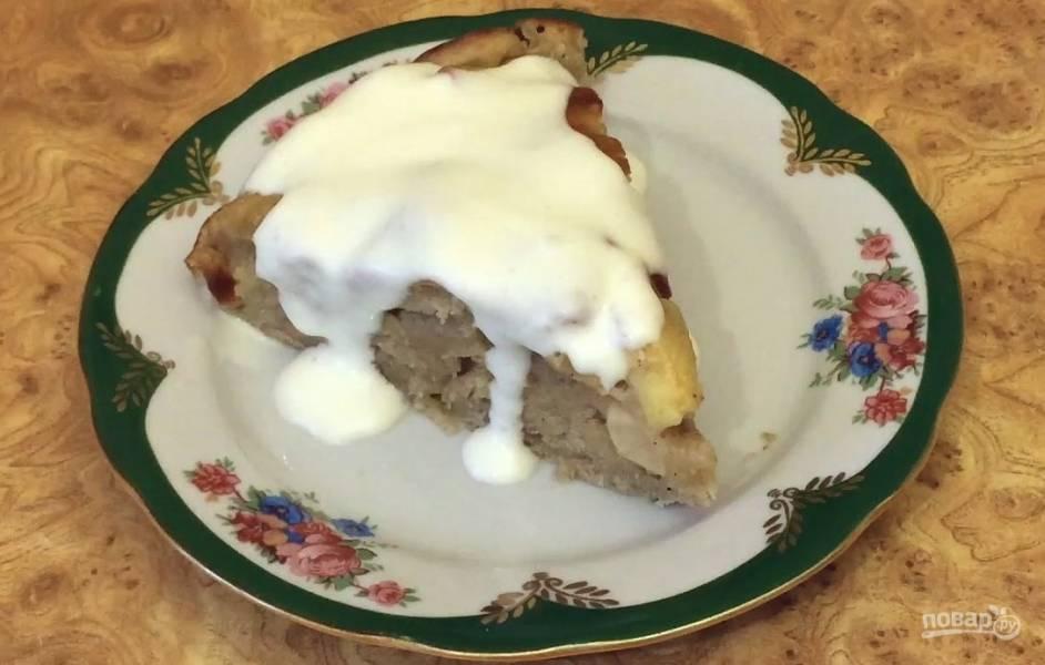 Яблочный пирог из теста на кефире