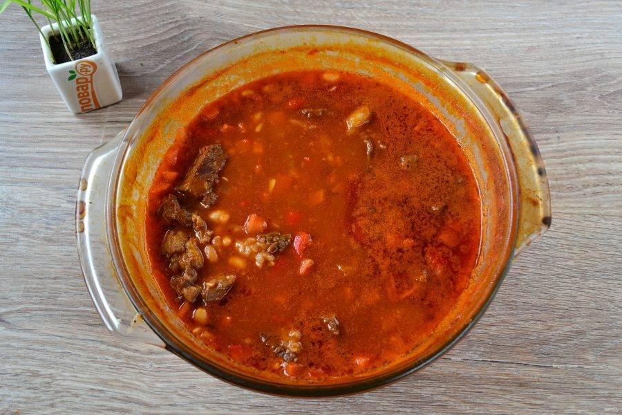 Суп готов. Он получился очень густым, наваристым и очень вкусным!