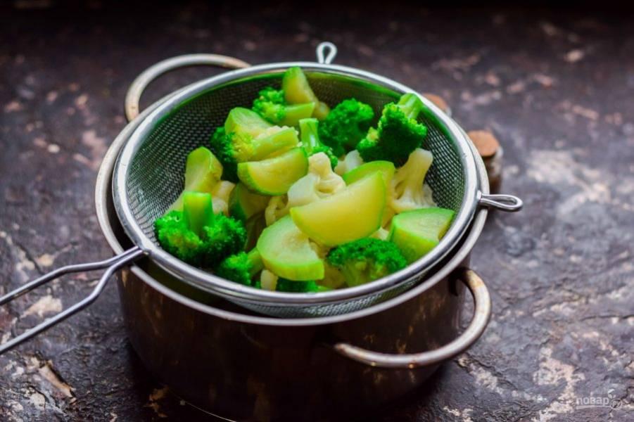 Спустя время переложите овощи в сито и остудите под холодной водой. Вот и все, овощи готовы к подаче.