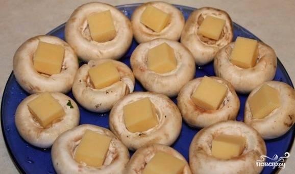 Сыр нарезать кубиками и положить в шляпки грибов.
