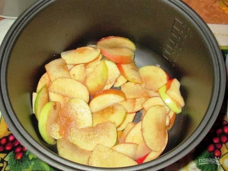 5.На дно мультиварки выложите яблоки, посыпьте корицей.