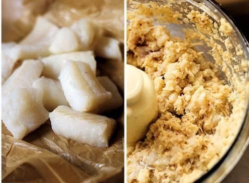 К измельченным ингредиентам присоединяем нарезанное филе хека и соль. Включаем комбайн примерно на 2—3 минуты, возможно, чуть больше или меньше, это зависит от мощности комбайна. В итоге должен получиться однородный рыбный фарш.