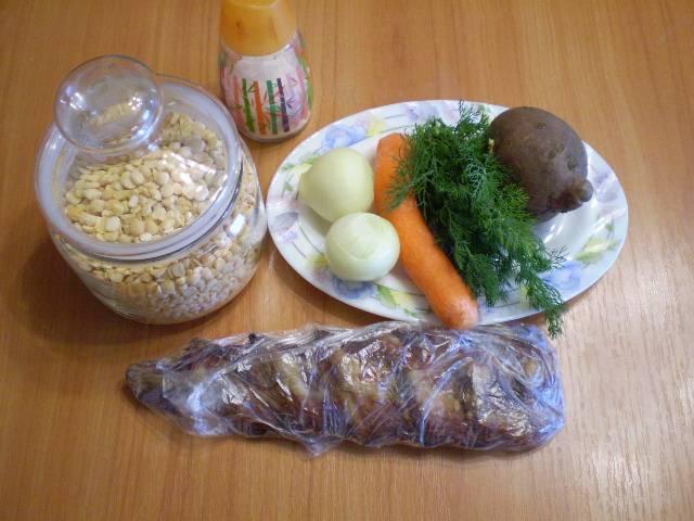 1. Приготовим продукты для супа.