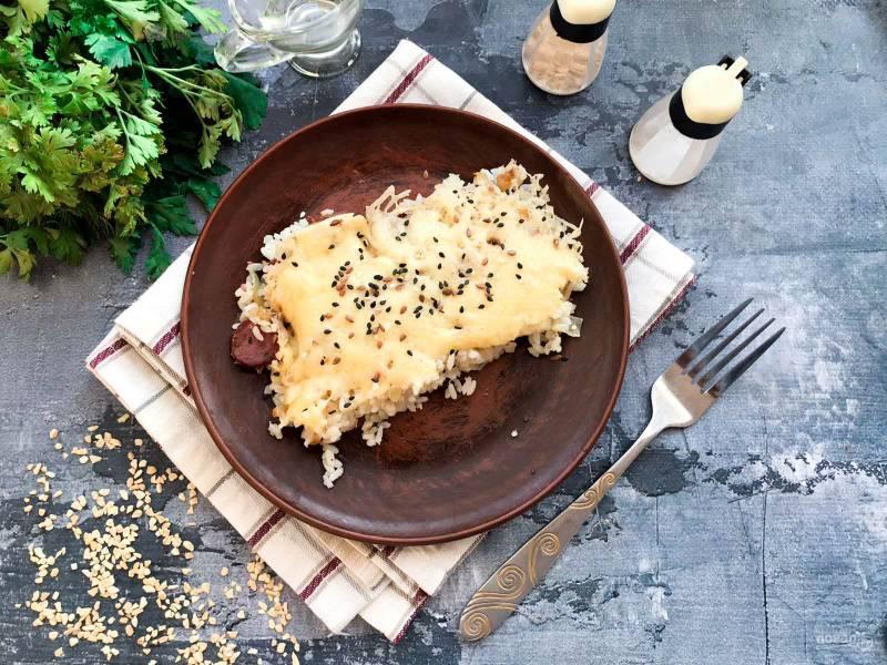Запеканка с рисом и колбасой