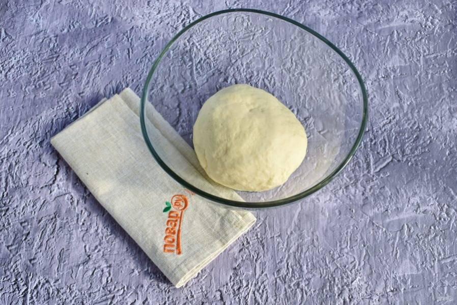 2.    Соедините все ингредиенты в глубокой миске, замесите мягкое тесто. Сначала тесто будет прилипать к рукам, это нормально. Вымешивайте тесто не менее 5-7 минут. Соберите тесто в шар, поместите его в миску, смазанную маслом, накройте и поставьте в теплое место на 30 минут.