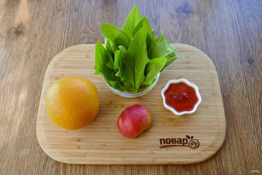Цитрусовый детокс-смузи. Шпинат вымойте. Яблоко и апельсин очистите, нарежьте на дольки.