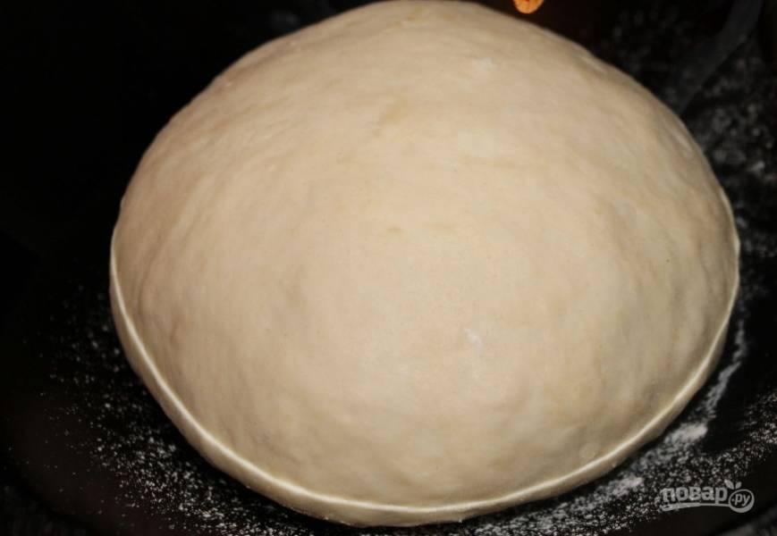 Растворите дрожжи в теплой воде, добавьте соль, 1 ч.л. сахара и растительное масло. Размешайте. Порционно добавляйте 500 г просеянной муки. Замесите тесто и оставьте на 30-40 минут.