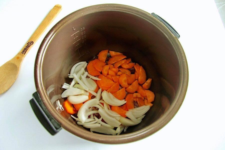 Сверху положите нарезанный перьями лук и нарезанную крупно морковь.