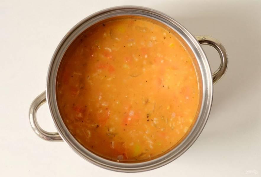 Посолите суп по вкусу и проварите еще 10 минут.