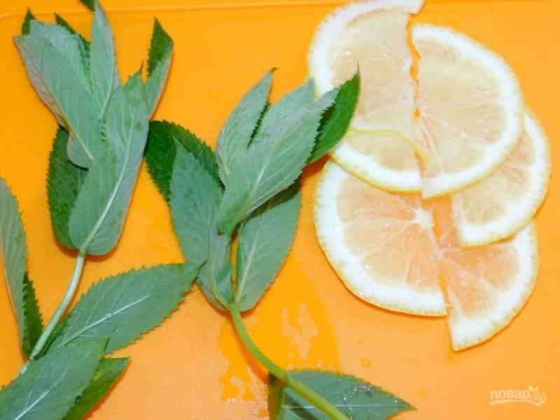 Добавьте в графин несколько листочков мяты и дольки лимона.