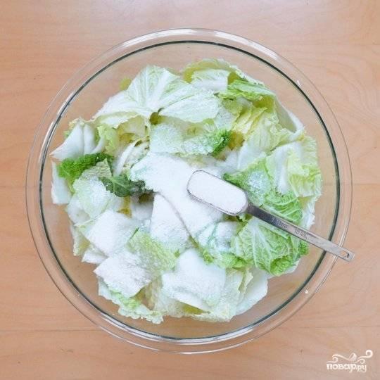 Смешайте соль с капустой, лучше всего делать это руками. Залейте смесь капусты и соли водой. Накройте подходящей по диаметру тарелкой, поставьте на нее что-нибудь тяжелое, типа кувшина с водой или банки консервов. Дайте настояться 1-2 часа.