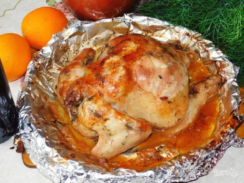 Курица в винно-апельсиновом маринаде с базиликом