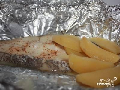 Палтус с картошкой