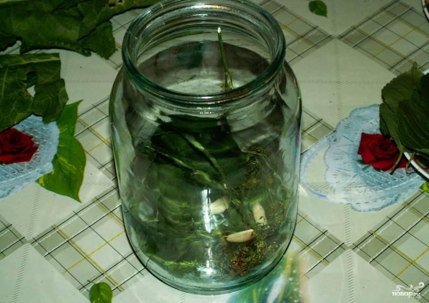 1. Огурцы тщательно вымоем. И пусть они постоят в холодной воде час или два. Тем временем в стерильные банки раскладываем листья вишни и смородины, зубки чеснока и перец.
