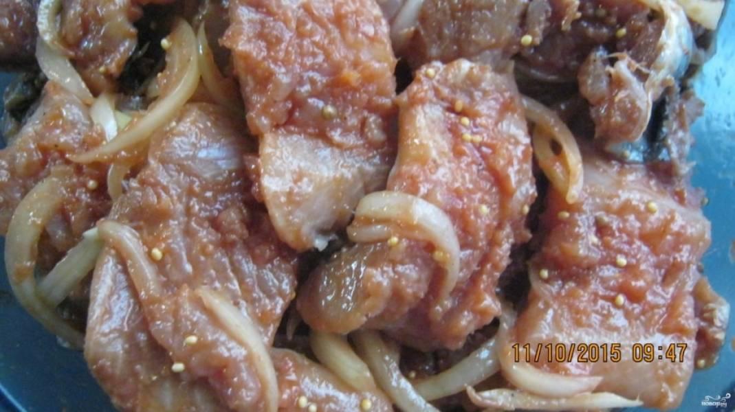 Добавить соль, черный перец, паприку,зерна горчицы а также томатный соус. Перемешайте. Добавьте уксус и хорошо перемешайте. Лук очистите и нарежьте полукольцами. Высыпьте лук к селедке, добавьте растительное масло и перемешайте. Накройте миску и поставьте её в прохладное место на несколько часов (лучше на ночь).  Пока селедка стоит, ее нужно несколько раз перемешать.