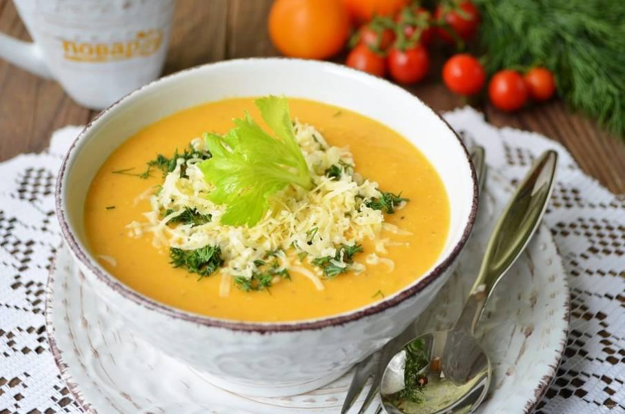 9. Подавайте суп с сыром и зеленью. Приятного!