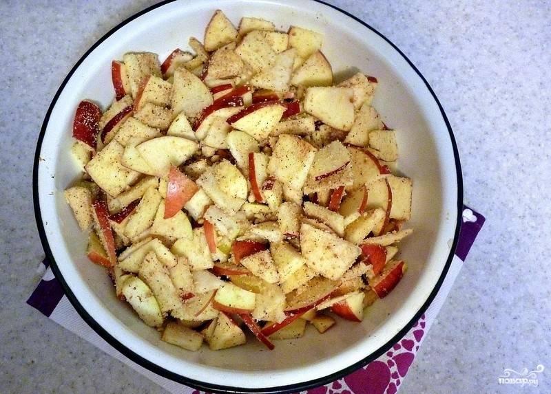 Яблоки помойте. Удалите у них семечки и сердцевину. Нарежьте их дольками и сбрызните лимонным соком. Добавьте к ним корицу, ванильный сахар и половину от общей массы из печенья с орехами.