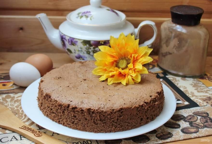 Выпекайте бисквит в заранее разогретой до 175-180 градусов духовке 35-40 минут. Готовый шоколадный бисквит охладите и выложите на блюдо. Можно нарезать и подавать к столу.
