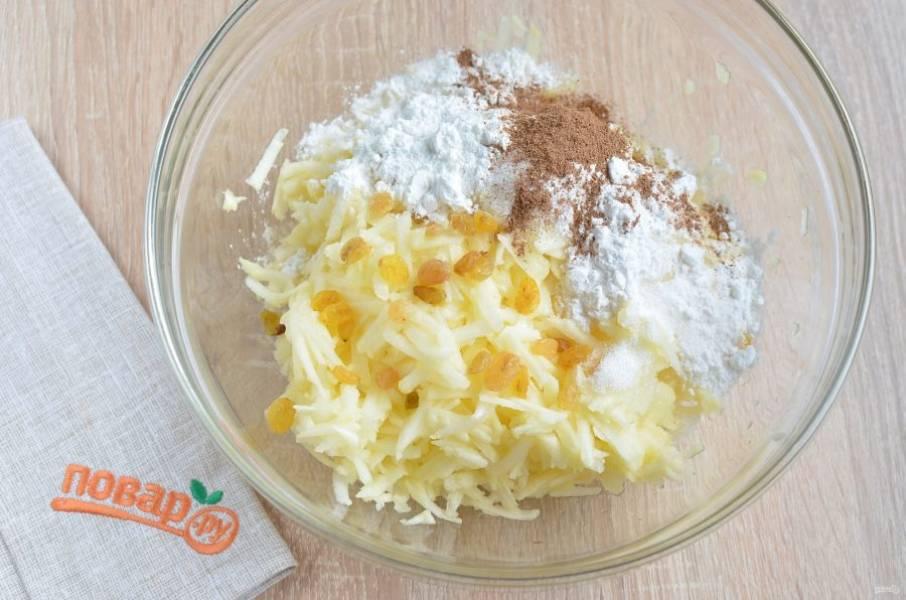 5. Для начинки очистите яблоки от кожуры и сердцевинок. Натрите их на крупной терке, добавьте корицу, изюм, сахар, крахмал. Перемешайте хорошо.