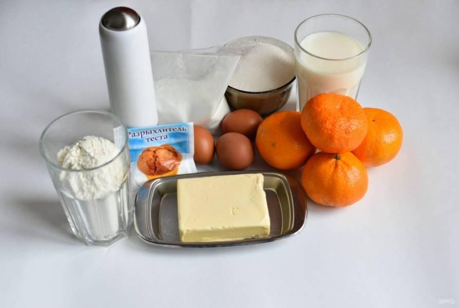 Продукты, необходимые для приготовления пирога.