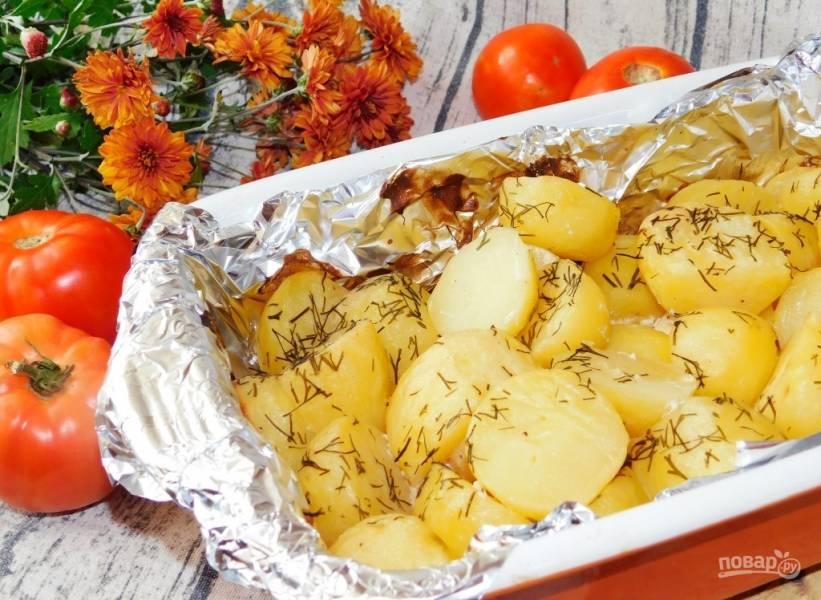 Картофель в горчичном соусе с укропом