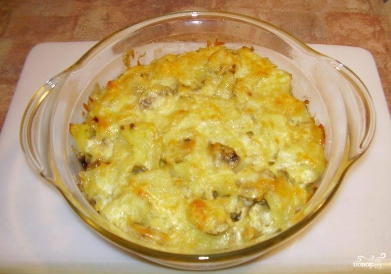 Картофель с шампиньонами и сыром в духовке