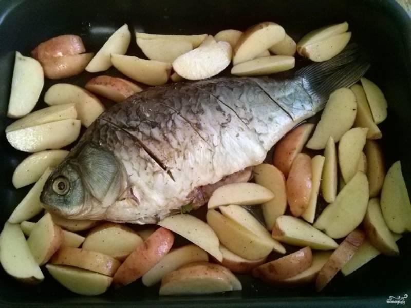 Разогрейте духовку до 200 градусов. Смажьте жаропрочную форму маслом и выложите туда рыбу и картофель.