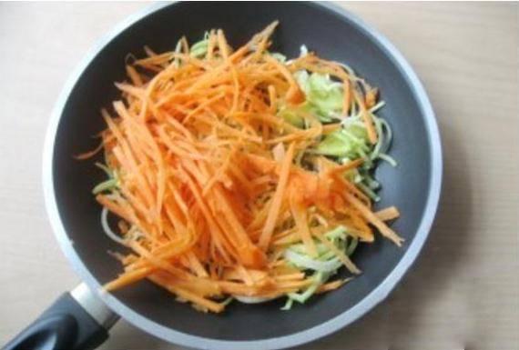 2. Измельчите лук-порей (можно использовать и обычный репчатый лук). Морковь нарежьте соломкой или натрите на средней терке. Припустите морковь и лук на подсолнечном масле (около 10 минут).