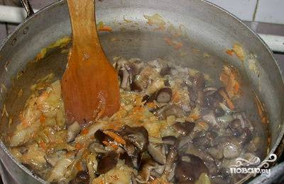 Выкладываем грибочки в кастрюлю, тушим 20 минут. Пробуем на соль и досаливаем по вкусу. Солянку можно кушать!