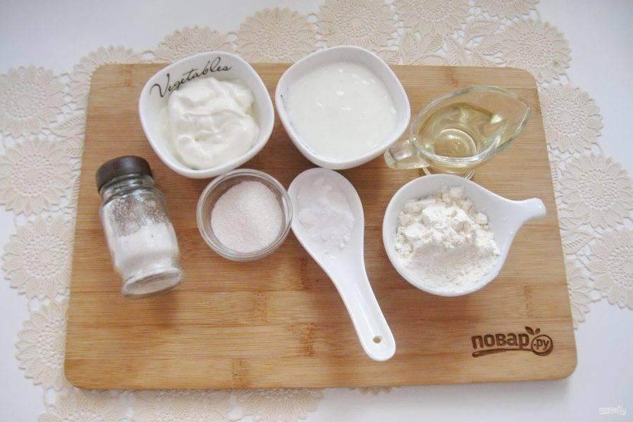 Подготовьте ингредиенты для приготовления оладий.