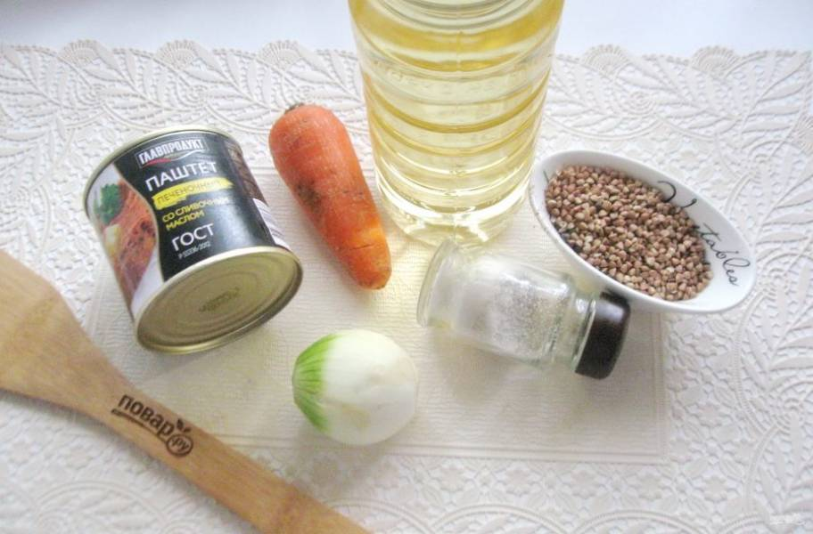 Подготовьте ингредиенты для приготовления каши с паштетом.