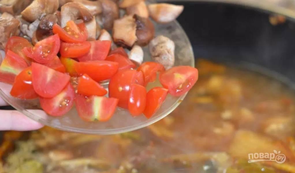4. Добавим остальные наши овощи и грибы.