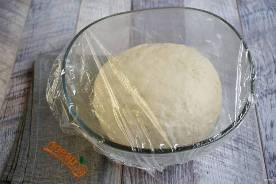В глубокую миску просейте муку, добавьте соль, сахар, сухие дрожжи и перемешайте. Влейте теплую воду, перемешайте. Добавьте 3 ст. л. оливкового масла, замесите гладкое тесто, не липнущее к рукам. Вымешивать не менее 7 минут. Тесто поместите в миску, смазанную оливковым маслом, накройте пищевой пленкой и поставьте в теплое место для подхода на 1 час.