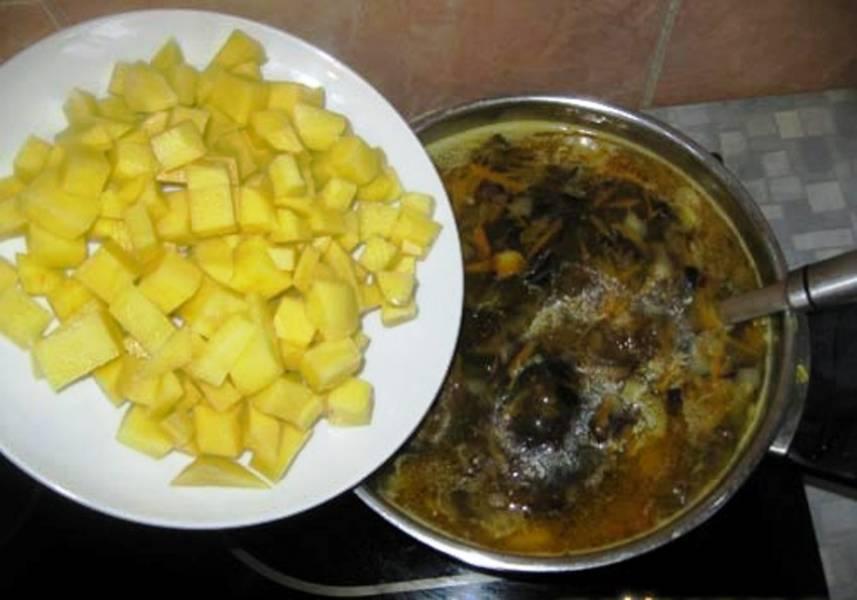 Затем добавьте картофель, через 15 минут – лавровый лист, порезанный чеснок и бутоны гвоздики. Еще через 5 минут добавьте в суп кориандр, соль и перец по вкусу. Когда картофель будет готов, снимите суп с огня и дайте 15 минут настояться. После этого подайте на стол.