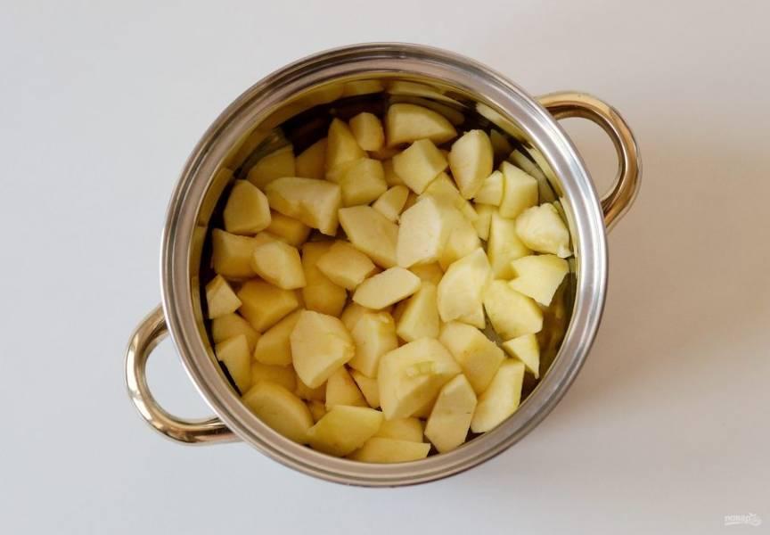 Очистите яблоки от кожуры и семян, затем нарежьте кубиками. Переложите в кастрюльку, налейте на дно немного воды и уваривайте до мягкости.