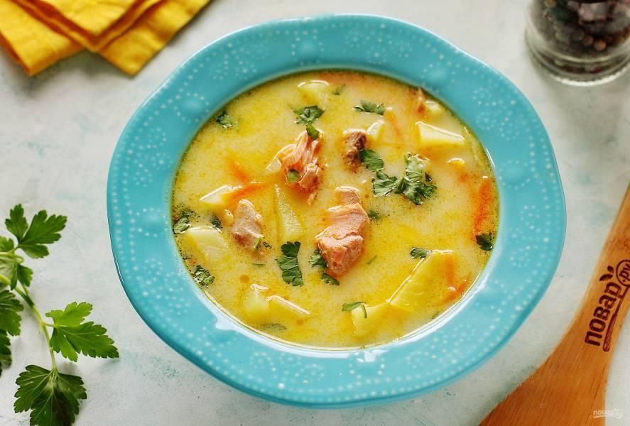 Сырный суп из горбуши