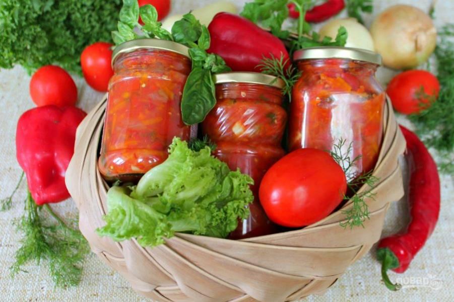 Летняя заготовка из болгарского перца с овощным ассорти готова.