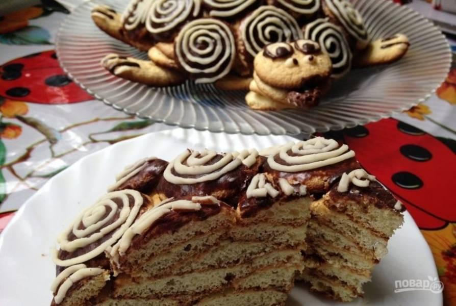 11.Украсьте черепаху по своему усмотрению, например, кокосовой стружкой, кремом, орехами, сухофруктами. Нарисуйте глаза, когти, нос и хвост. Подождите до застывания и пропитки торта, а затем подавайте. Приятного чаепития!