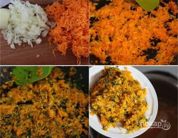 3. Очистите и измельчите лук, натрите на терке вторую половину моркови и чеснок. Обжарьте на сковороде с растительным маслом лук до прозрачности, добавьте морковь. Минут через 5 выложите на сковороду чеснок и немного измельченной зелени. Обжаренные овощи добавьте в кастрюлю.