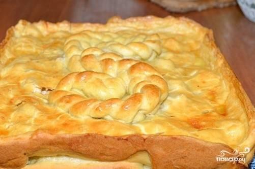 Выпекаем пирог в разогретой до 200 градусов духовке минут 20, затем снижаем температуру до 180 градусов и продолжаем выпекать еще 20-25 минут. Вот такой красивый пирог у вас должен получиться.