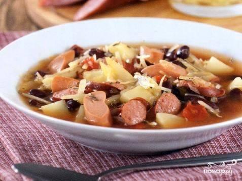 Суп фасолевый с сосисками