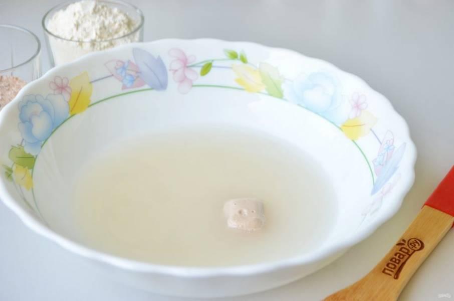 2. В теплой воде растворите соль и дрожжи.