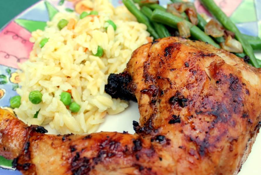 Карамелизированный рис с курицей